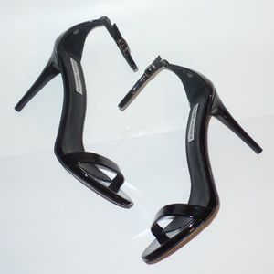 Steve Madden Black Stecy Patent Heels Sandals 9